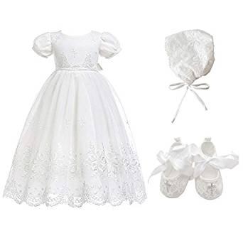Vestido Bordado Floral Para Bautizo Niñas